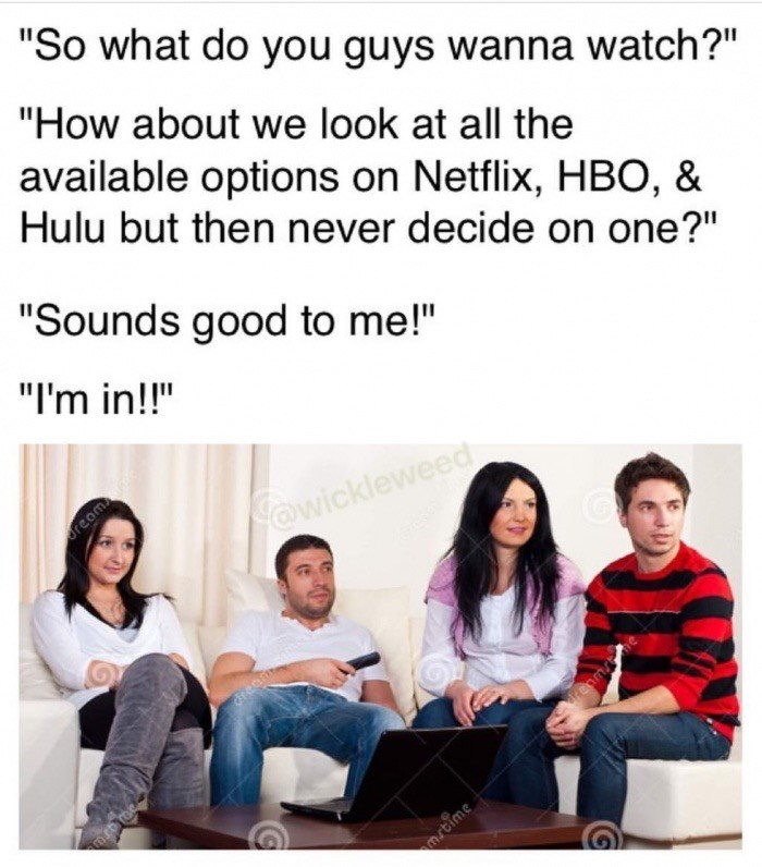 Meme about how large groups can never decide on what to watch so they just scroll thru all the options on netflix, hbo and hulu but not decide.
