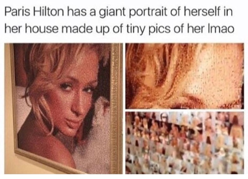 Meme of a portrait Paris Hilton has of herself in her house made up of tiny pics of her.