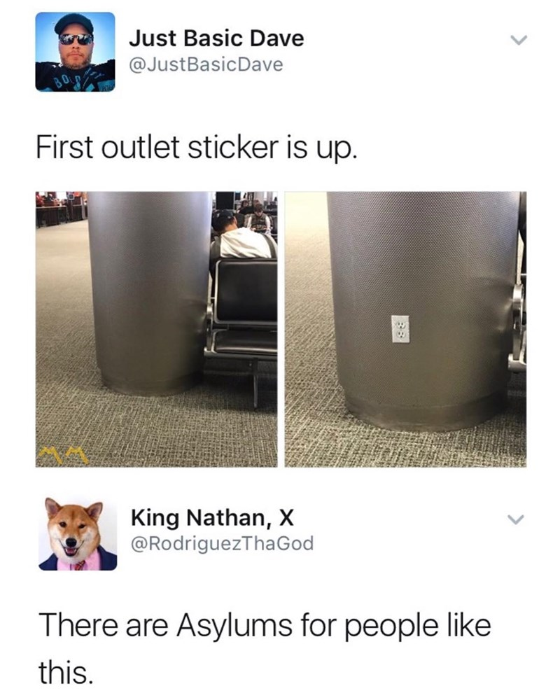 Funny meme about someone who is putting out outlet stickers to prank people.