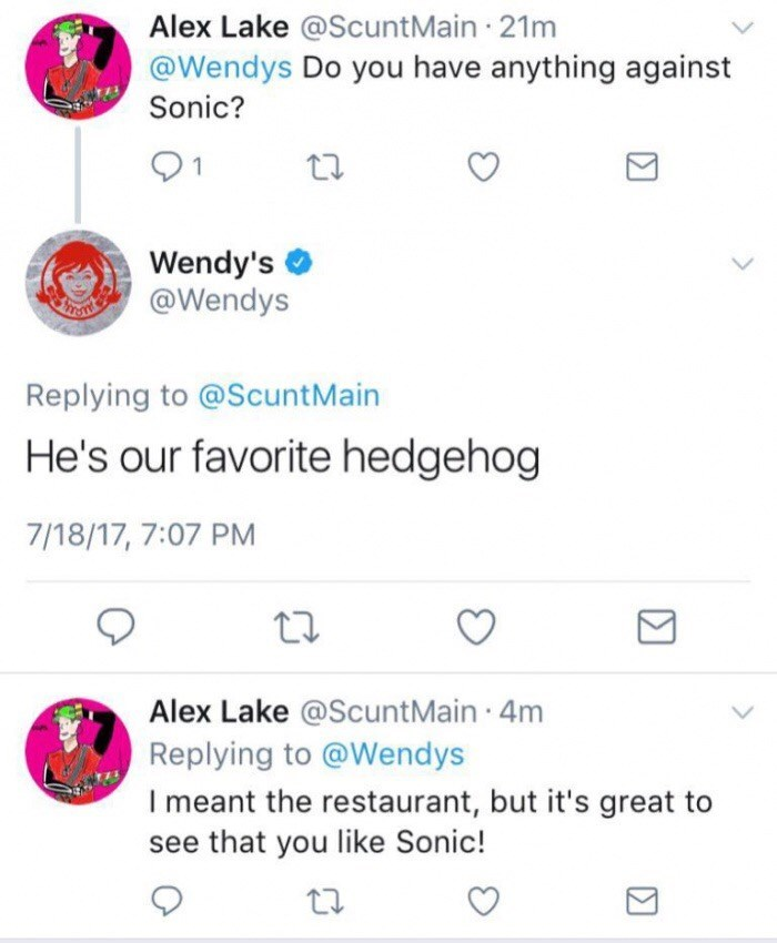 Wendy's twitter account commenting about Sonic