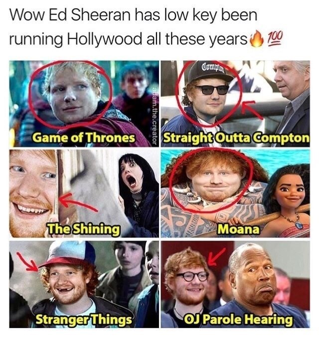 Meme offering photoshop examples of how Ed Sheeran has been making low key Hollywood Cameos all these years.