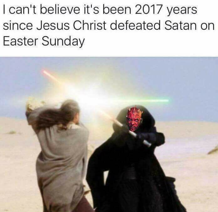 Funny star wars meme comparing qui-gon jinn and darth maul to jesus and satan.