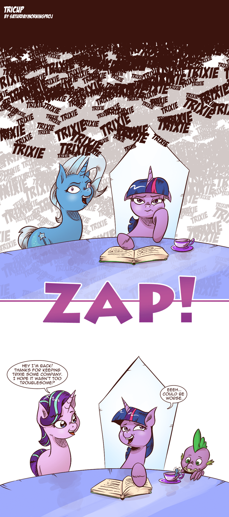 spike the great and powerful trixie starlight glimmer twilight sparkle comic saturdaymorningproj - 9057053952