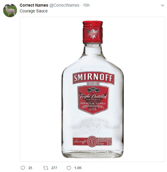 Liqueur - Correct Names @CorrectNames 10h Courage Sauce SMIRNO SMIRNOFF Triple Destilled FOR PUEITY PREMIUM VODKA 21 35de t277 25 1.0K