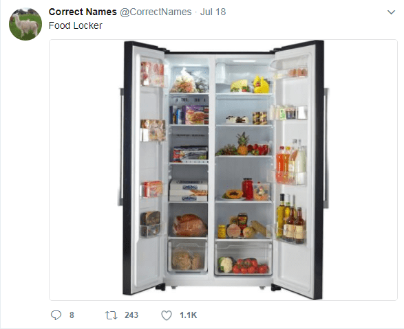 Refrigerator - Correct Names @CorrectNames Jul 18 Food Locker t 243 8 1.1K
