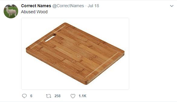 Wood - Correct Names @CorrectNames Jul 18 Abused Wood t 258 1,1K