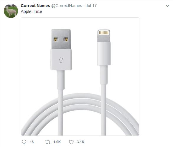Usb cable - Correct Names @CorrectNames Jul 17 Apple Juice t 1.0K 16 3.1K