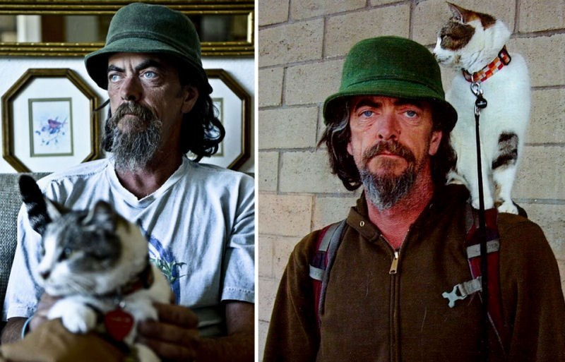 Michael King and the kitten Tabor that he found and nursed back to health.