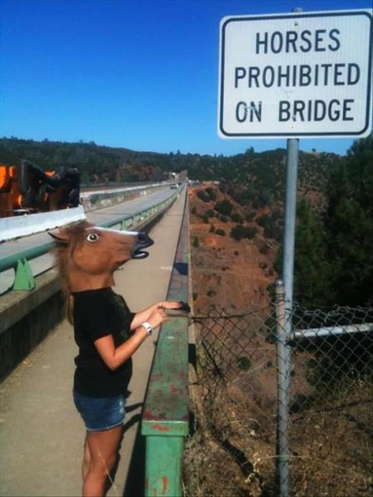 Girl wearing horse mask next to sign that says Horse Prohibited on Bridge