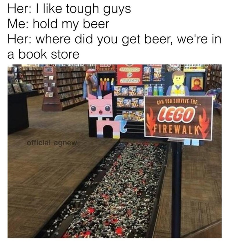 Funny meme about being a badass in a book store with a lego walk.