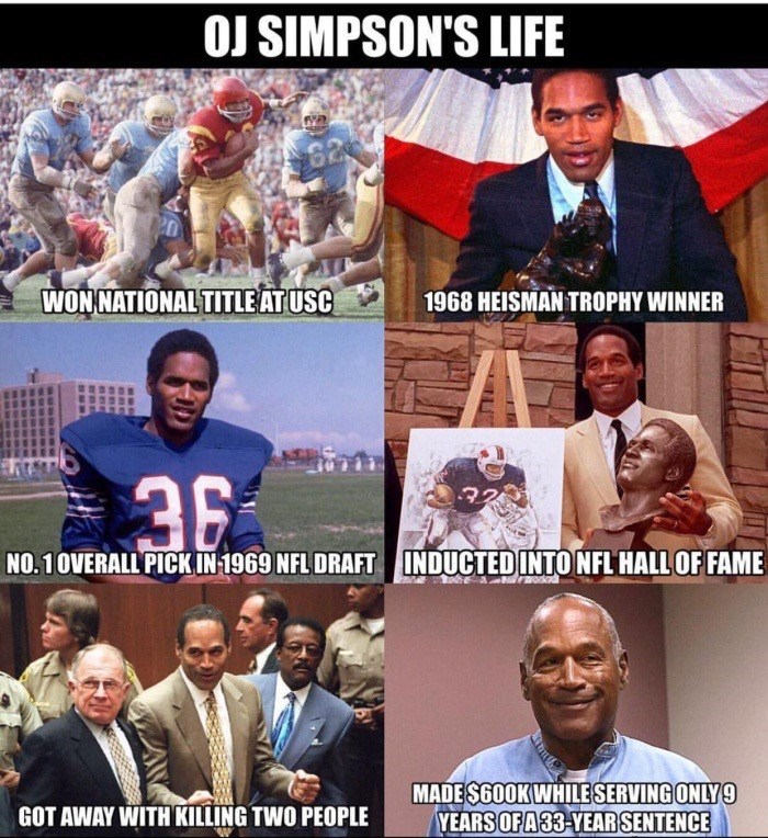 Meme about OJ Simpson's life in which is won national title at USC, Heisman Trophy in 1968, Overall pic in NFL 1969, Hall of Face, got away with killing 2 people. Made $600K while serving 9 years of 33 year sentence