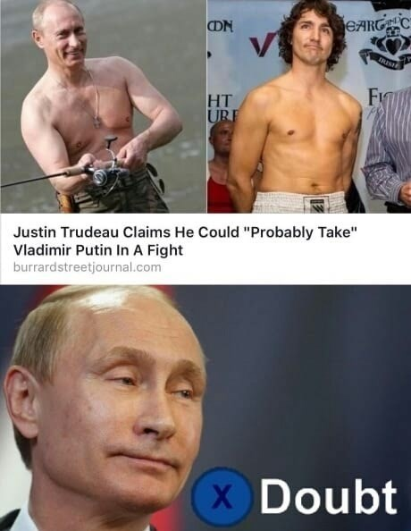 Meme debating the feasibility of Justin Trudeau taking on Vladimir Putin in a fight.