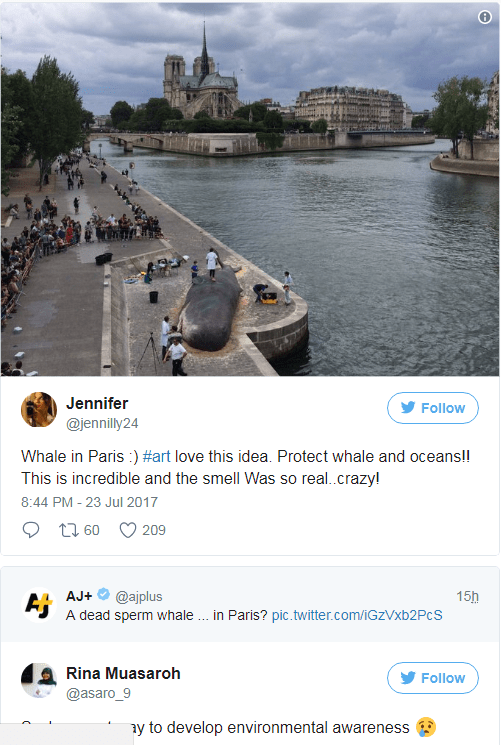 Tweet by Jennifer about how the dead whale even had an authentic smell