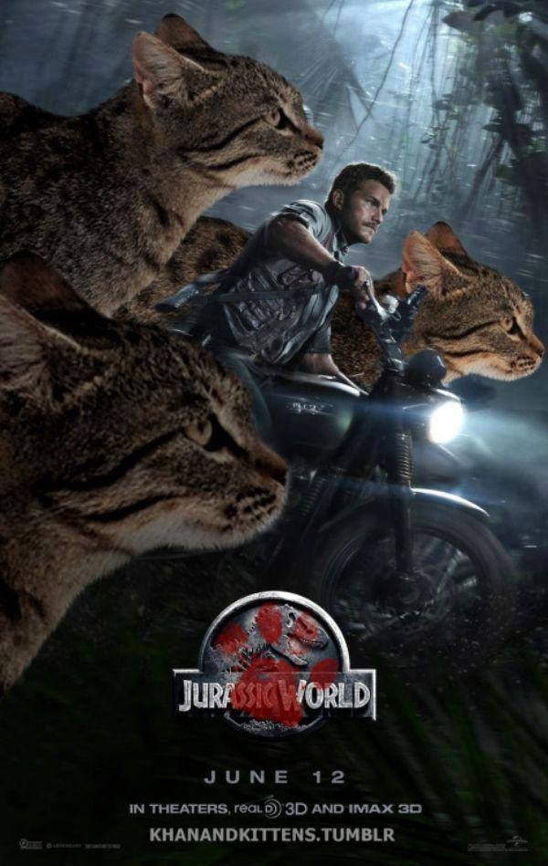 Jurassic World movie posters with cats running with the motorcycle