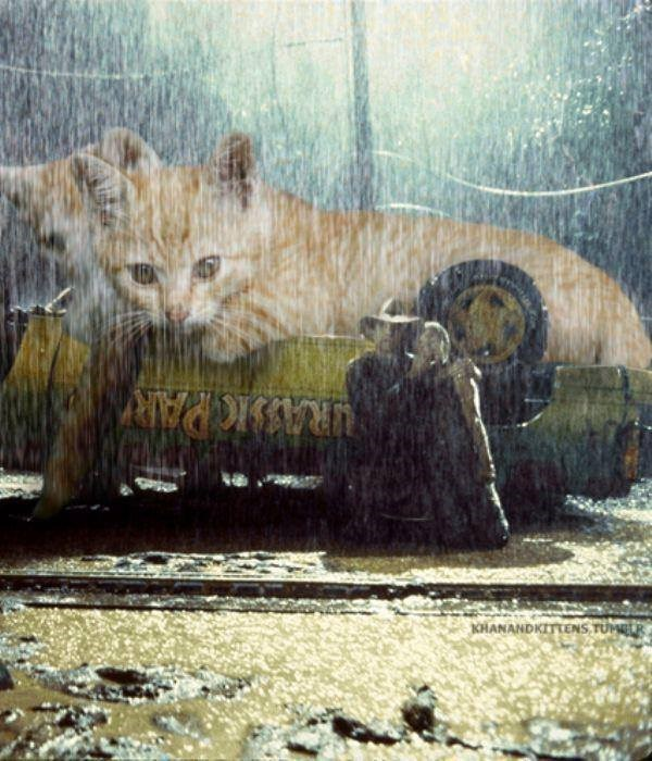 Cat atop to overturned vehicle in Jurassic Park