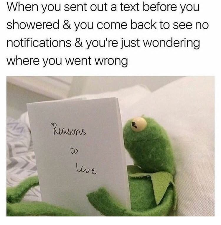Text - When you sent out a text before you showered & you come back to see no notifications & you're just wondering where you went wrong Rasons to live
