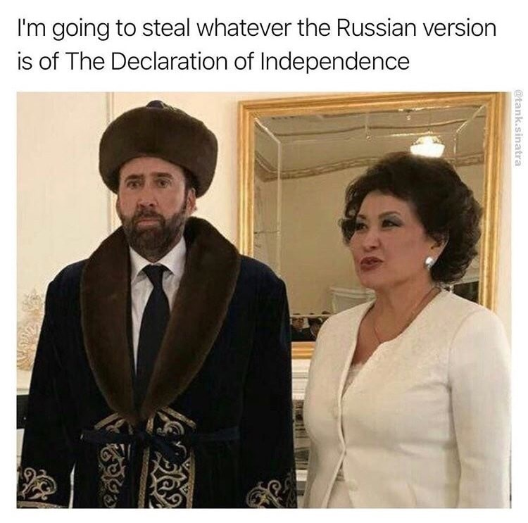 Gentleman - I'm going to steal whatever the Russian version is of The Declaration of Independence @tank.sinatra