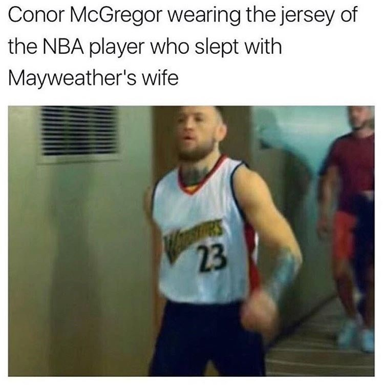 Athlete - Conor McGregor wearing the jersey of the NBA player who slept with Mayweather's wife 23
