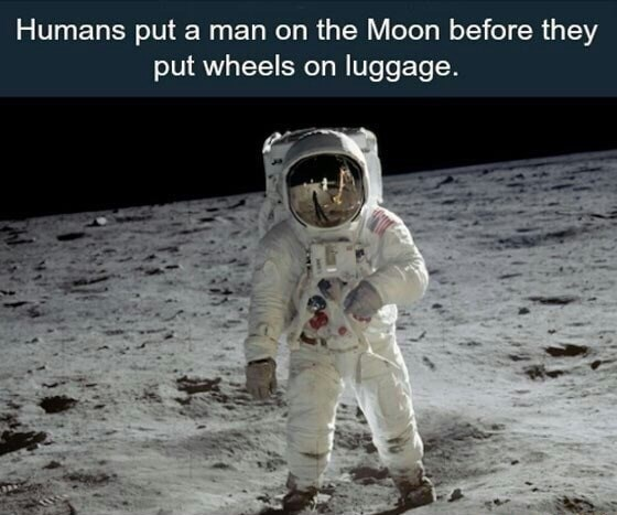 Astronaut - Humans put a man on the Moon before they put wheels on luggage.