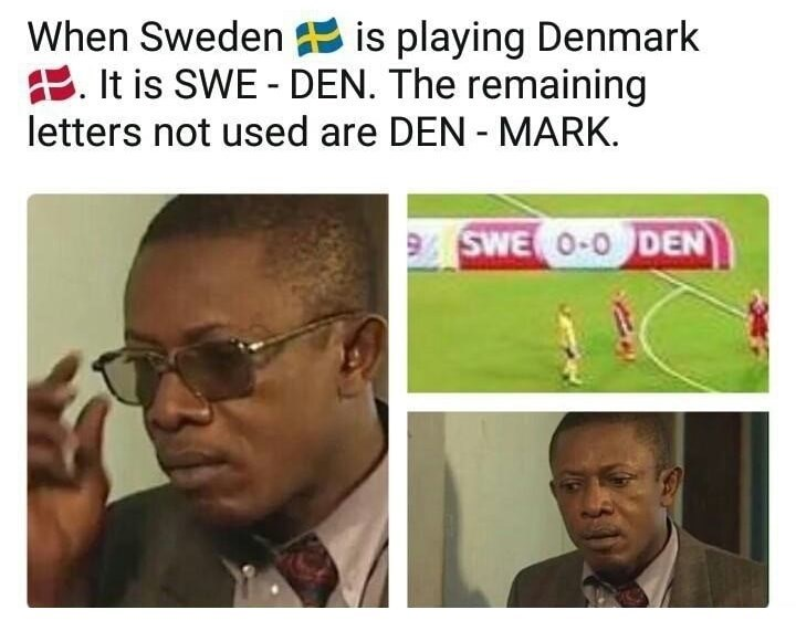 Text - When Sweden is playing Denmark E. It is SWE - DEN. The remaining letters not used are DEN MARK SWE O-O DEN