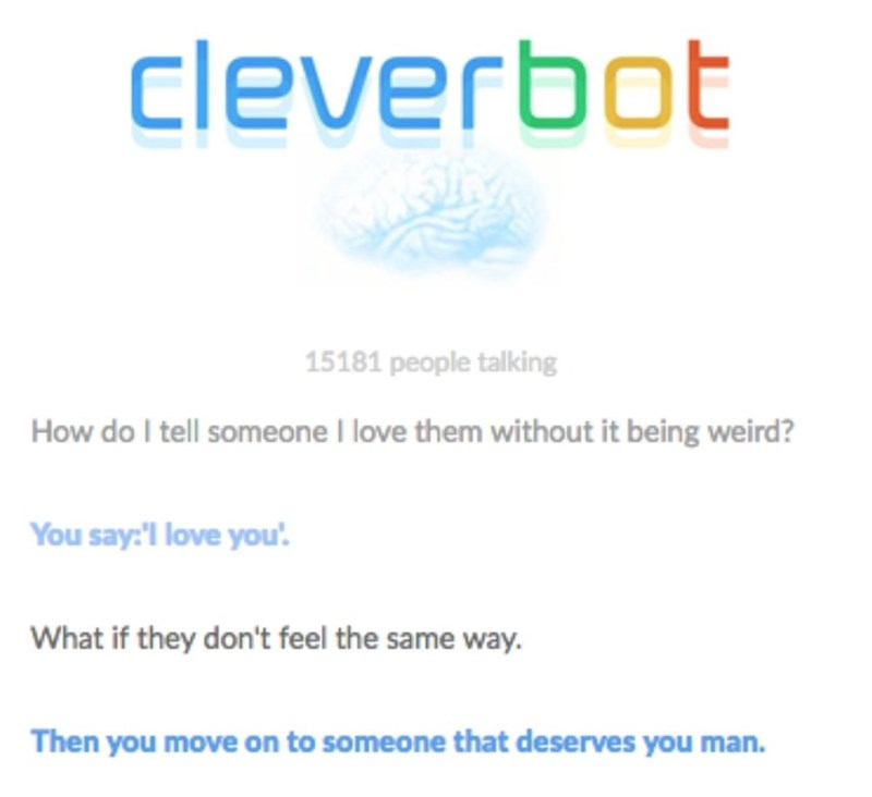 Cleverbot meme about how to tell someone you love them