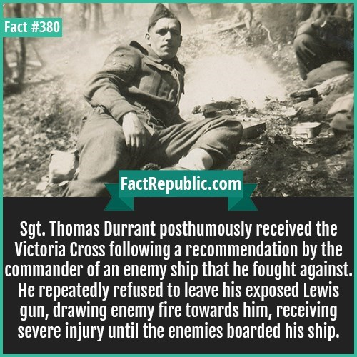 fun fact about SGT Thomas Durrant brave soldier