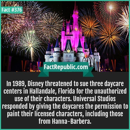 fun fact about how Disney threatened to sue day care centers in Hallandale for using their characters.