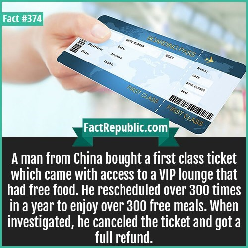fun fact about how man in China bought first class ticket to get free meals in VIP lounge
