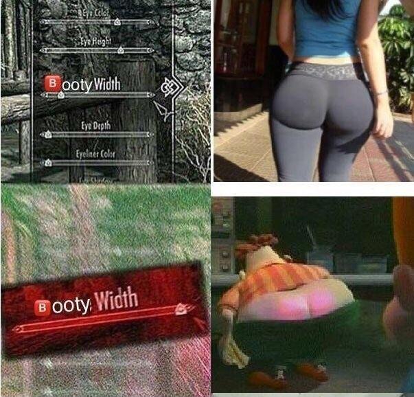 Booty width skyrim meme