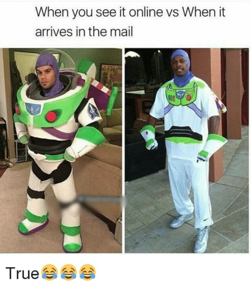 Costume - When you see it online vs When it arrives in the mail True