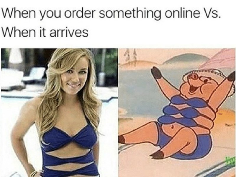 Cartoon - When you order something online Vs. When it arrives