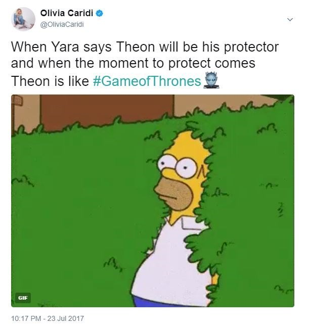 Game of Thrones meme of Homer Simpson merging with the bushes as how Theon was when it came time to protect Yara