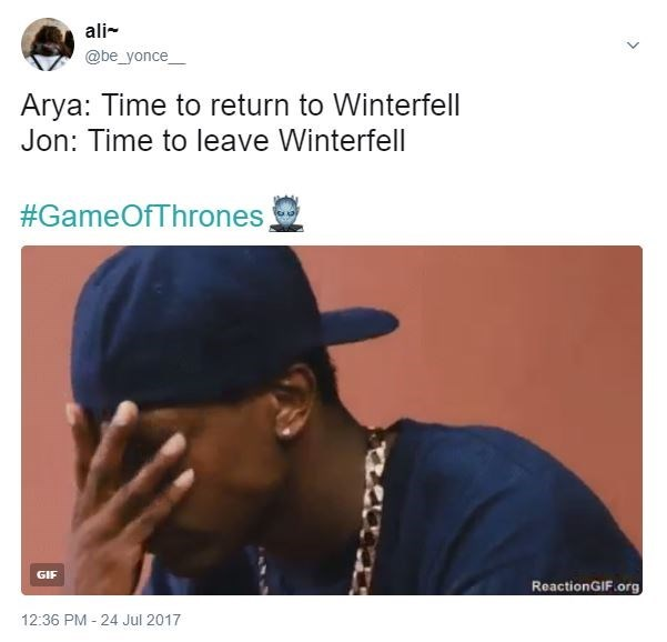 Facepalm gang memeber with hat on backwards about how in Game Of Thrones, Arya returns to Winterfell just as Jon Snow is leaving Winterfell