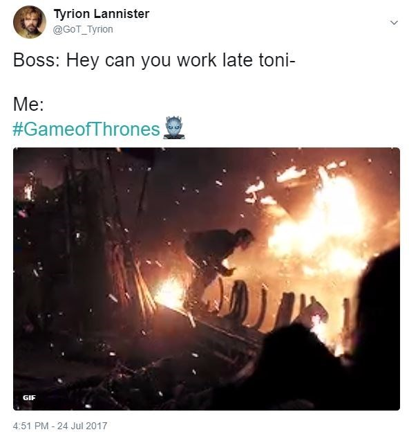 Game of Thrones meme of Theon jumping the boat as a reaction of boss asking if you can work late tonight.