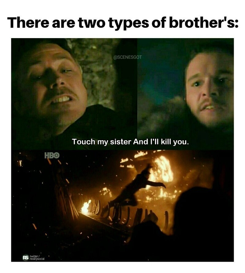 Game of Thrones meme about there being 2 kinds of brothers, Jon Snow and Theon Greyjoy