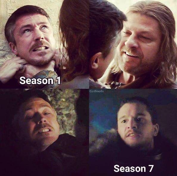 Meme showing Ned Stark choking Peter Baelish and Season 7 Jon Snow is chocking him