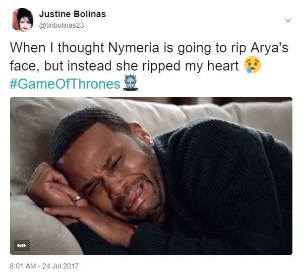 Tweet by Justine Bolinas about how she thought Nymeria was going to rip Arya's face but instead ripped our hearts.
