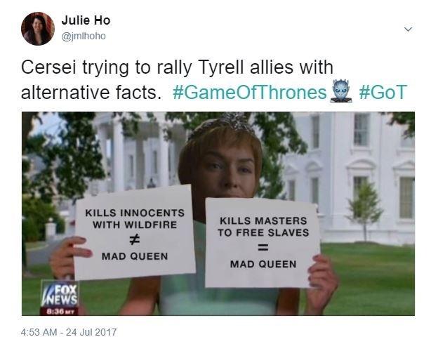 Cerzei Alternative Facts meme