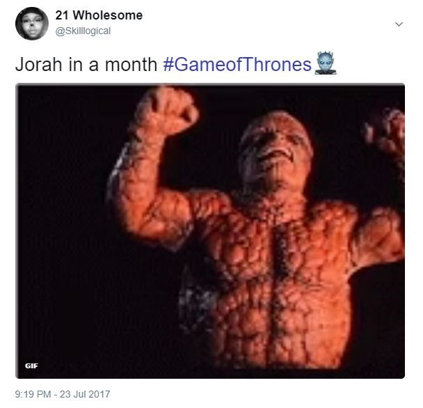 Game of Thrones meme about how Jorah is going to look like Fantastic Four Thing