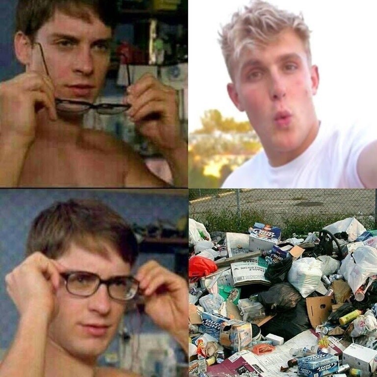 Meme about spider man looking like trash with those glasses on.