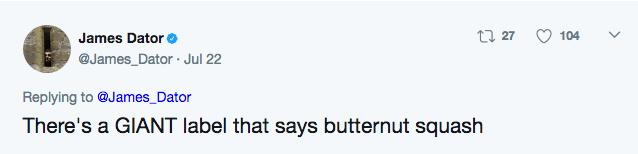 Tweet explains that it was clearly written on it that it is butternut squash