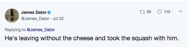 Tweet update that man is leaving without his cheese