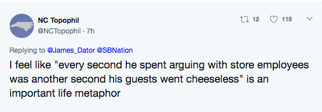 Tweet pointing out that ever second he spent arguing with employees was another minute his guests had no cheese.