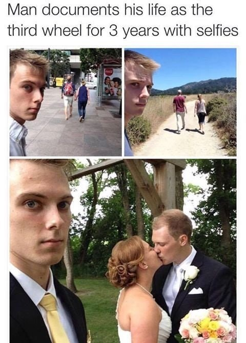 Funny meme of a guy documenting three years of being the third wheel in selfies.