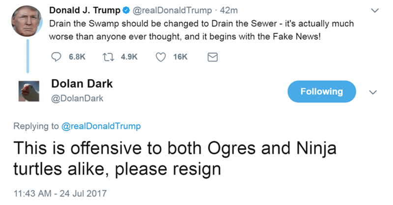 Funny meme of Donald Trump drain the swamp/drain the sewer tweet, someone responds that it is offensive to both ogres and teenage mutant ninja turtles.