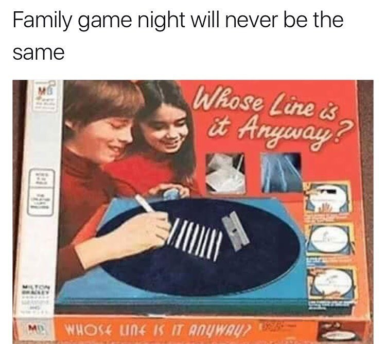 """Funny game """"whose line is it anyway"""" photoshopped so it's about doing lines of coke, board game."""