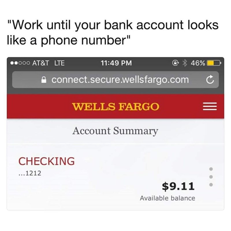 Funny meme about having an account balance of 9.11.