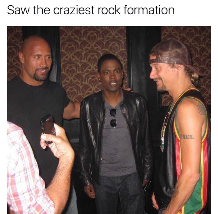 Funny meme and pun about seeing a rock formation: photo of Chris Rock, The Rock, and Kid Rock hanging out together.