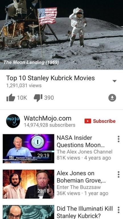 Dank meme calling the moon landing a Stanley Kubrick movie