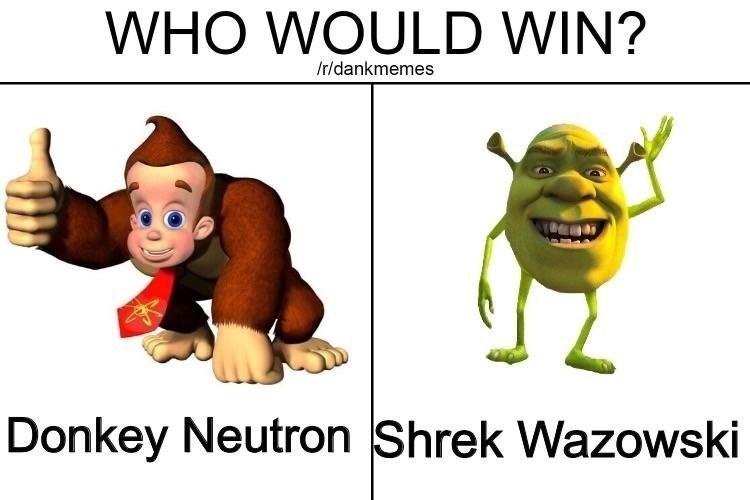 Dank meme of who would win between Donkey Neutron and Shrek Wazowski